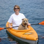 Kayaking this morning with my sister, Betsy and Sophie, her dog.