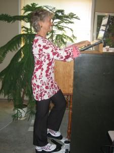 Susie on mini-stepper