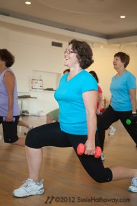 Moni, Susan doing lunges